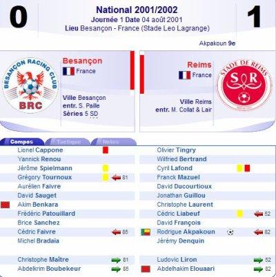 2001 NAT J01 BESANCON REIMS 0-1, le 4 août 2001