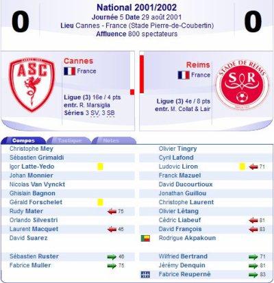 2001 NAT J05 CANNES REIMS 0-0, le 25 août 2001
