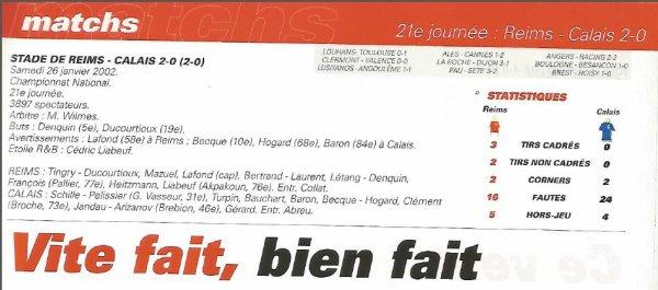 2001 NAT J21 REIMS CALAIS 2-0, le 26 janvier 2002