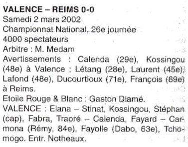 2001 NAT J26 VALENCE REIMS 0-0, le 2 mars 2002