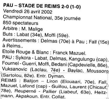 2001 NAT J35 PAU REIMS 2-0, le 26 avril 2002