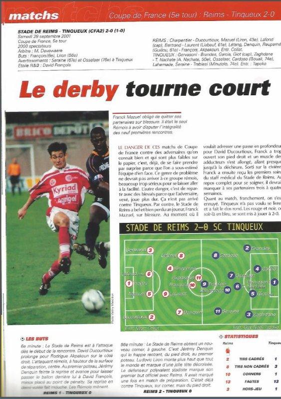 2001 CDFT5 REIMS TINQUEUX 2-0, le 29 septembre 2001