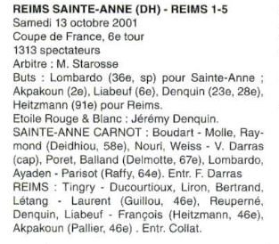 2001 CDFT6 REIMS SAINTE ANNE REIMS 1-5, le 13 octobre 2001