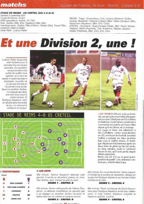 2001 CDFT7 REIMS CRETEIL 4-0 ,le 3 novembre 2001