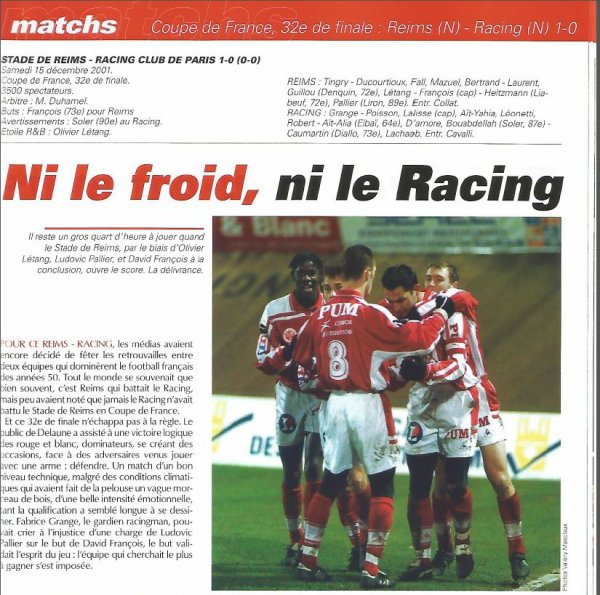 2001 CDF32 REIMS RACING 1-0, le 15 décembre 2001
