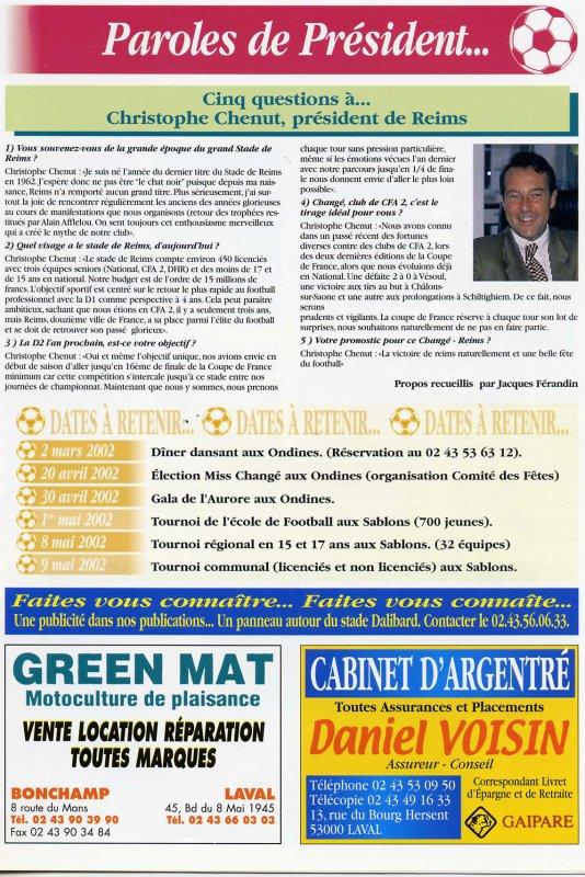 2001 CDF16 CHANGE REIMS 0-3, le 19 janvier 2002