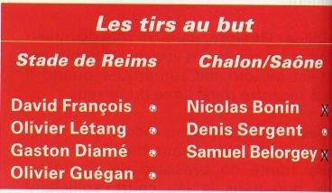 2000 CDF32 CHALON Sur SAONE REIMS 1-1 ( tab 1-4) le 20 janvier 2001
