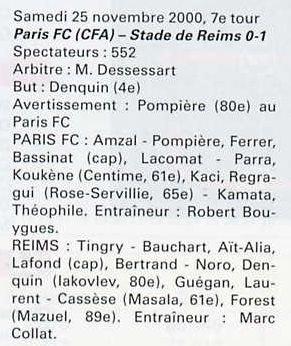 2000 CDFT7 PARIS FC REIMS 0-1, le 25 novembre 2000