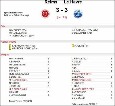 2007 Ligue 2 J17 REIMS Le HAVRE 3-3, le 30 novembre 2007
