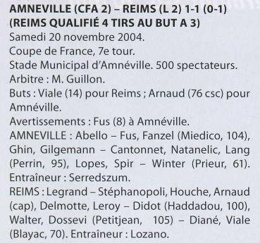 2004 CDFT7 AMNEVILLE REIMS 1-1 ( Tab 3-4 ) ,le 20 novembre 2004