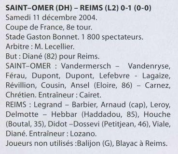 2004 CDFT8 SAINT OMER REIMS 0-1, le 11 décembre 2004