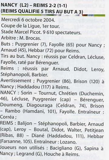 2004 CDLT1 NANCY REIMS 2-2 ( Tab 3-5 ) le 8 octobre 2004