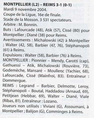 2004 CDL16 MONTPELLIER REIMS 3-1, le 9 novembre 2004