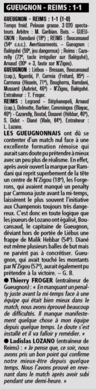 2004 Ligue 2 J22 GUEUGNON REIMS 1-1 , le 21 janvier 2005