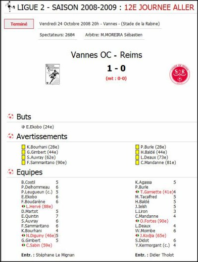 2008 Ligue 2 J12 VANNES REIMS 1-0, le 24 octobre 2008