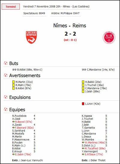 2008 Ligue 2 J14 NIMES REIMS 2-2, le 7 novembre 2008