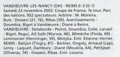 2003 CDFT7 VANDOEUVRE REIMS 0-3, le 22 novembre 2003