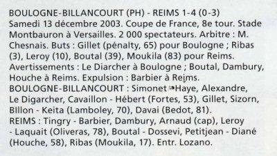 2003 CDFT8 BOULOGNE BILLANCOURT REIMS 1-4, le 13 décembre 2003