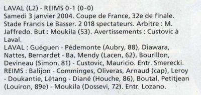 2003 CDF32 LAVAL REIMS 0-1, le 3 janvier 2004