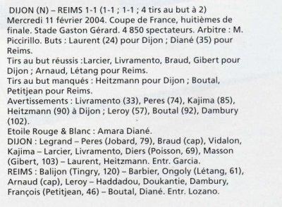 2003 CDF08 DIJON REIMS 1-1 ( Tab 4-2) , le 11 février 2004