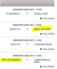 2012 DH J21 PRIX les Mézieres REIMS B 0-1, le 5 mai 2013