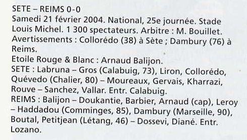 2003 NAT J25 SETE REIMS 0-0 ,le 21 février 2004