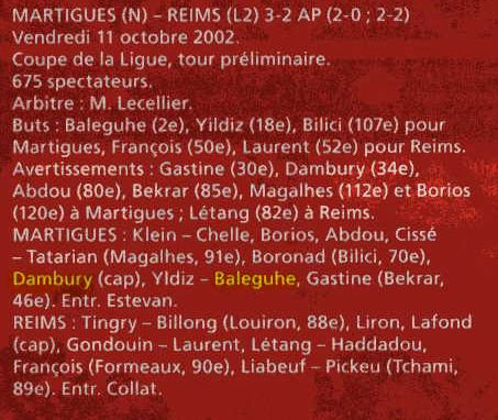 2002 CDLT1 MARTIGUES REIMS 3-2 ( ap) , le 11 octobre 2002