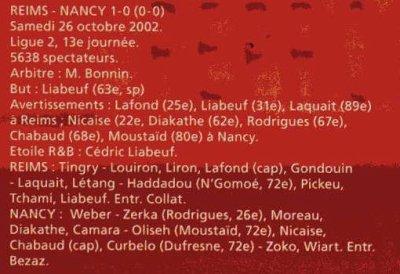 2002 LIGUE 2 J13 REIMS NANCY 1-0, le 26 octobre 2002