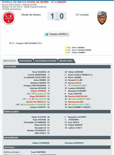 2012 Ligue 1 J37 REIMS LORIENT 1-0  ,  le 18 mai 2013