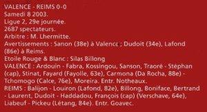 2002 LIGUE 2 J29 VALENCE REIMS 0-0, le 8 mars 2003