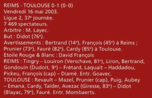 2002 LIGUE 2 J37 REIMS TOULOUSE 0-1, le 16 mai 2003