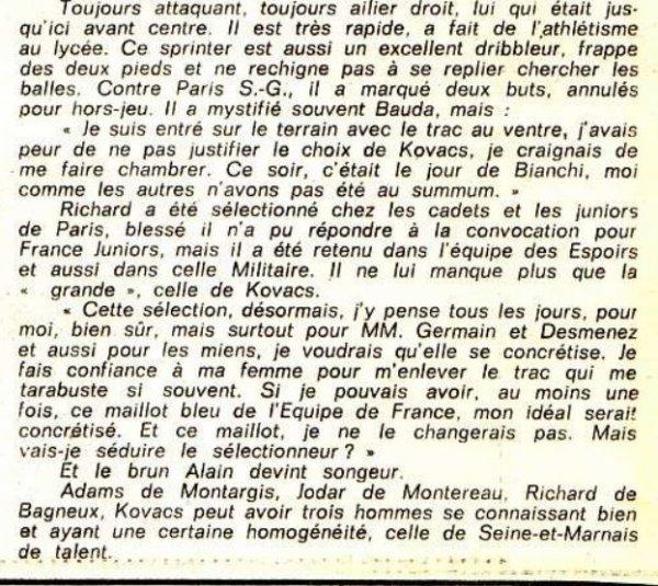 1974 RIchard convoqué chez les Bleus, le 18 août 1974