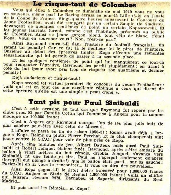 1955 CCC REAL MADRID REIMS, Kopa l'atout rémois ,le 13 juin 1956