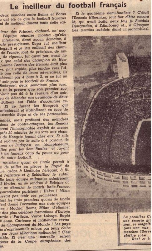 1955 CCC REAL MADRID REIMS, L' avant match ,le 13 juin 1956