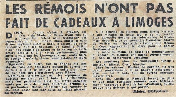 1951 CDF 32ème REIMS LIMOGES 7-0, le 13 janvier 1952