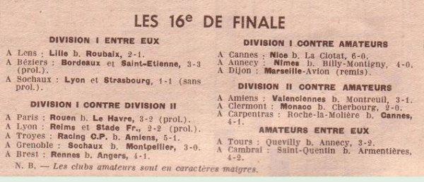 1951 CDF 16ème REIMS STADE FRANCAIS 2-2 ( ap), le 3 février 1952