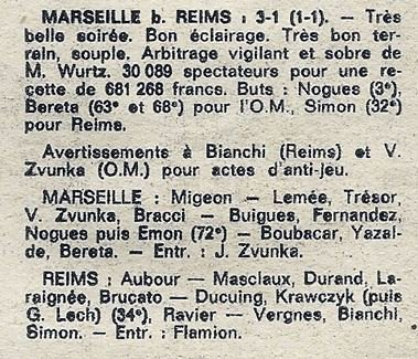 1975 CDF08R MARSEILLE REIMS 3-1, le 10 avril 1976