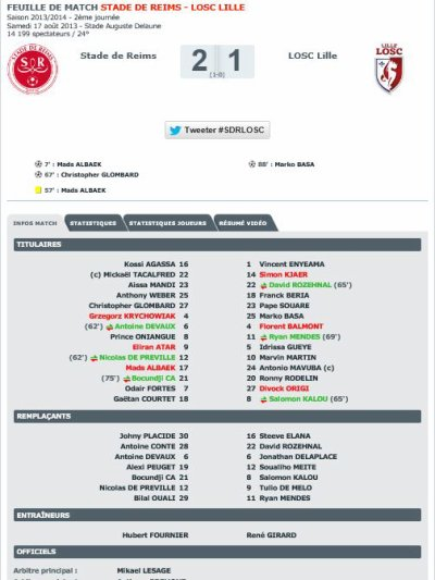 2013 Ligue 1 J02 REIMS LILLE 2-1, le 17 août 2013