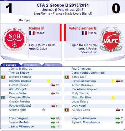 2013 CFA2 J05 REIMS B VALENCIENNES B 1-0, le 06/10/2013