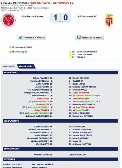 2013 CDL16 REIMS MONACO 1-0 , 30/10/2013