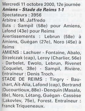 2000 NAT J12 AMIENS REIMS 1-1, le 11 octobre 2000