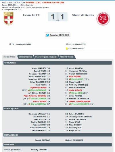 2013 Ligue 1 J18 EVIAN TG REIMS 1-1, le 14/12/2013