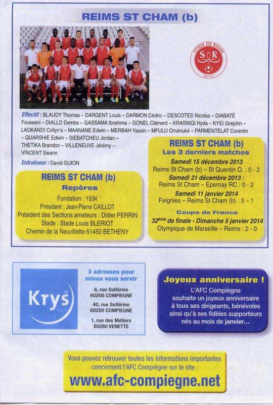 2013 CFA2 J14 COMPIEGNE REIMS B, l'avant match, le 24/01/2014