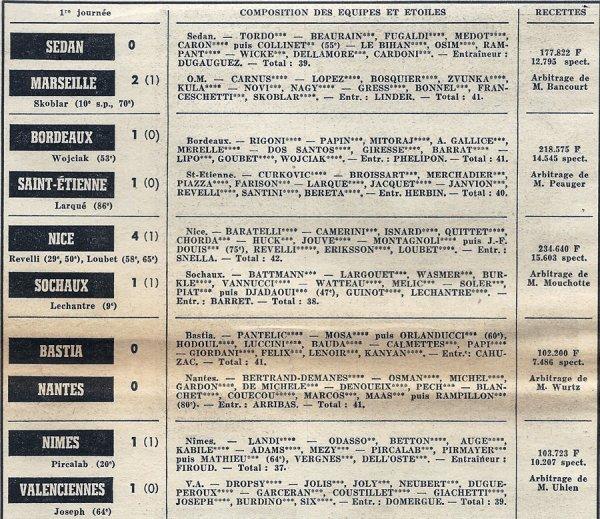 1972 D1 J01 STRASBOURG REIMS 4-1, le 9 août 1972