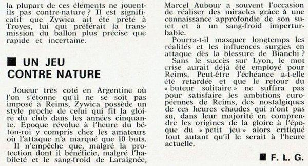 1974 CDF32 REIMS LYON 2-1 ( AP) , le 2 février 1975