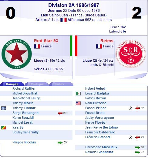 1986 D2A J22 RED STAR REIMS 0-2 ( suite ), le 6 décembre 1986