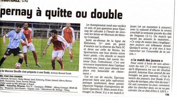 2013 CFA2 J26 REIMS B SEDAN, l'avant match suite , le 24 mai 2014