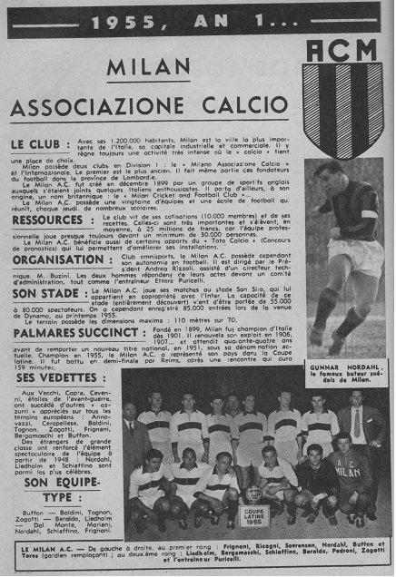 1955 CECC demi-finale : REAL MADRID AC MILAN 4-2,  le 19 avril 1956
