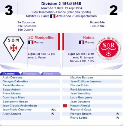 1964 D2 J03 MONTPELLIER REIMS 3-2, le 13/09/1964