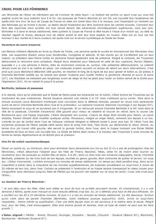 2014 CDFT3 Féminines , TROYES REIMS 3-4, le 23/11/2014